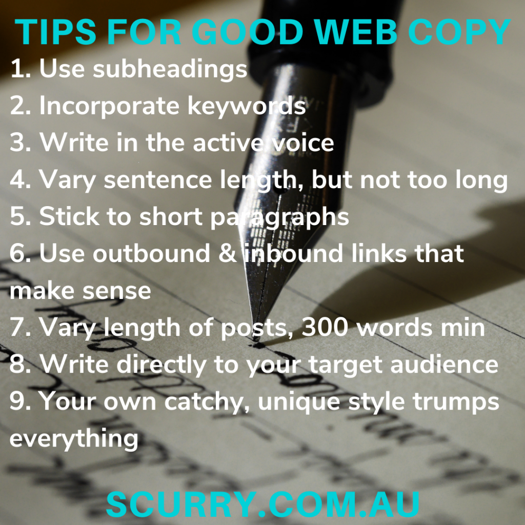 9 tips for writing good web copy